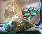 Lovely Iridescent Glass Navette Sprig brooch with Fine Veining on Leaves and Large Teardrop Stone