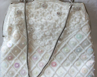 d5d7c139e6a Exquisite Cream Ivory Satin with glass beads and sequins, wedding bag/purse  by FARFALLA, London