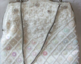 893fb89db1a Exquisite Cream Ivory Satin with glass beads and sequins, wedding bag/purse  by FARFALLA, London