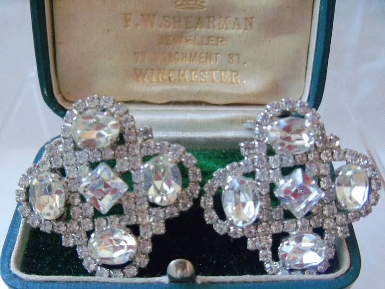 406bbe9541970 Dazzling MONTY DON Swarovski Crystal 1980s Designer Earrings, signed,  highly collectable