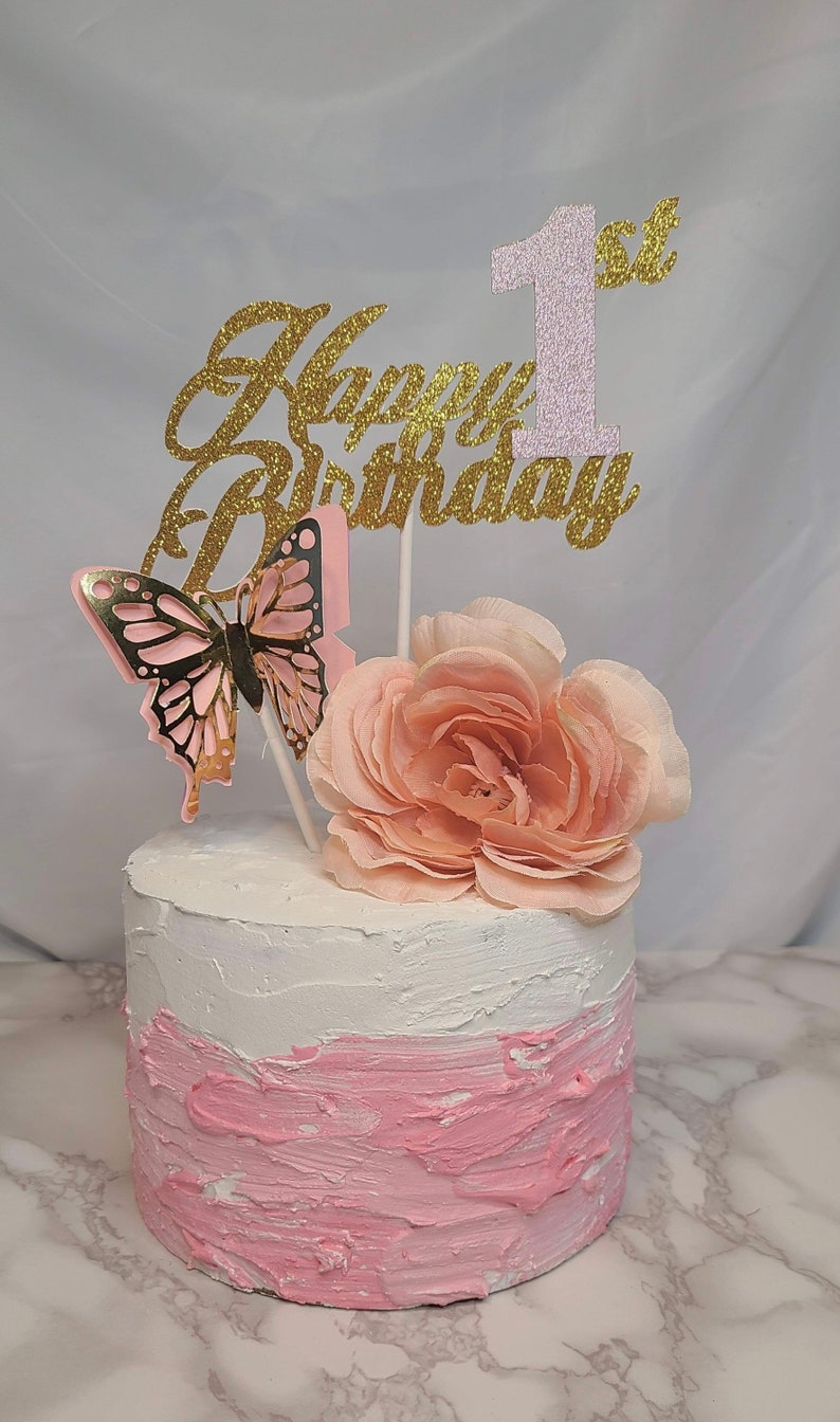 Birthday Butterfly Cake Topper Butterfly Birthday Party Cake Topper Butterfly 1st Birthday Cake Topper
