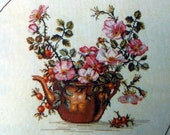 Copper Kettle With Roses 12-278 Eva Rosenstand Vintage Counted Cross Stitch Embroidery Kit Clara Waever