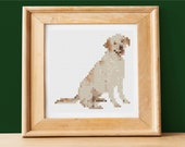 Cute Small Labrador Retriever Photo Realistic Cross Stitch Pattern - Instant PDF Download - Easy to Customize w Pet 39 s Name-DIY Dog Portrait