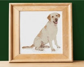 Labrador Retriever Photo Realistic Cross Stitch Pattern - Instant PDF Download - Easy to Customize with Pet 39 s Name - DIY Dog Portrait