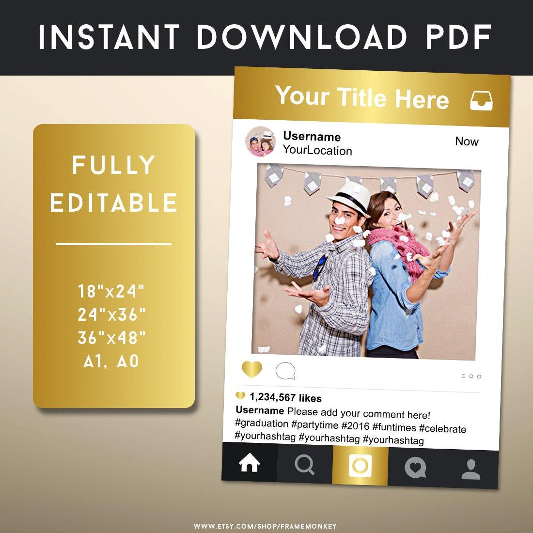 Gold Instagram Foto Prop Instagram Frame Instagram Zeichen | Etsy