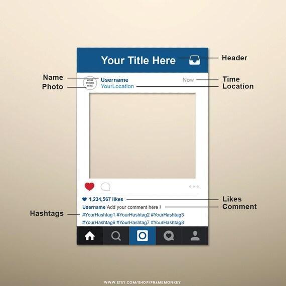 PDF Instagram Style Frame Photo Prop Instagram Sign Social | Etsy