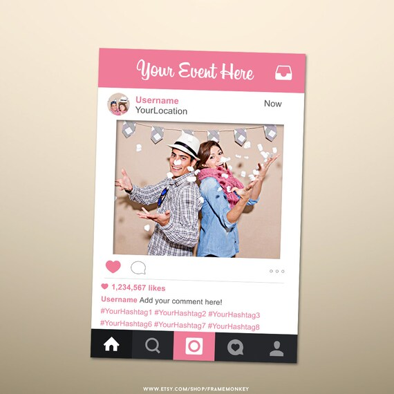 Photo Booth Props Photo Prop Frame Instagram Sign Instagram Etsy