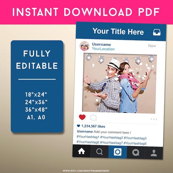 PDF estilo Instagram marco foto Prop signo de Instagram redes | Etsy