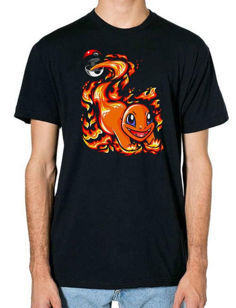 89f8383c Kids Charmander Pokemon T-Shirt Inspired Fan Art Unisex Black | Etsy