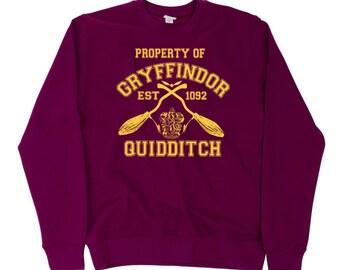 Property Of Gryffindor Quidditch Team SweatShirt Jumper Harry Potter Hogwarts Support Retail Quality