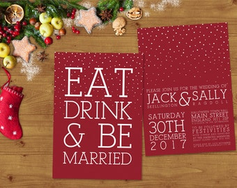 Modern White Ink on Red Christmas Wedding Invitations Stationery Set - Invites - Save the Date - Christmas Wedding - Winter Wedding