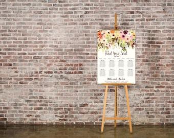 Autumn Watercolour Floral Wedding Seating Chart Table Plan - Poster Print - Digital Download - Wedding Printable - Table Plan