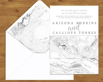 Marble Belly Bands and Envelope Liners - Marble Wedding - Grey Wedding - Wedding Invitation Extras - Wedding Stationery