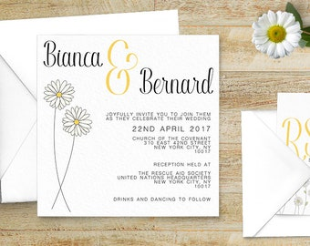 Lemon Yellow Daisy Wedding Invitations Stationery Set  - Daisy Wedding - Yellow Wedding