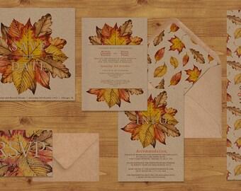 Wedding invitation kits etsy uk autumn leaves watercolour wedding invitations stationery set printed or digital download kraft paper stopboris Images