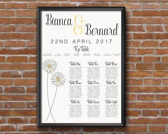Lemon Yellow Daisy Wedding Seating Chart Table Plan - Poster Print - Digital Download - Wedding Printable - Table Plan