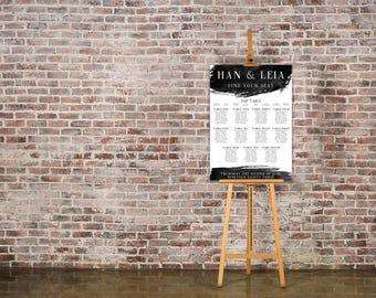 Bold Black and White Wedding Seating Chart Table Plan - Poster Print - Digital Download - Wedding Printable - Table Plan