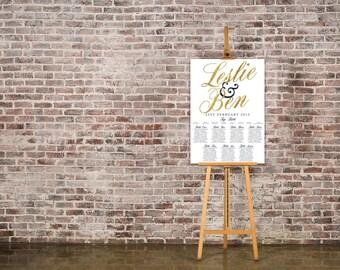 Navy White and Gold Wedding Seating Chart Table Plan - Poster Print - Digital Download - Wedding Printable - Table Plan