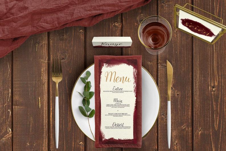 d2a9854ed5067 Cartes d'endroit de vin Marsala, tableau chiffres, cartes de Menu -  papeterie de mariage Marsala mariage - mariage Bordeaux - nom de Table -  carte ...