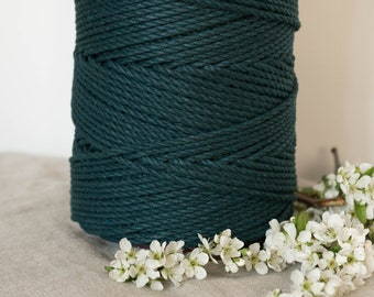 Forrest 4mm Twisted 3 Ply Rope - Macrame Cord Pine Alpine Dark Green 1kg Roll