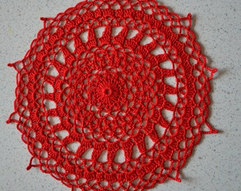 Handmade doily 21 cm, red, round crocheted with fine cotton