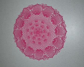 Handmade round doily pink, 37 cm, made with fine cotton crochet