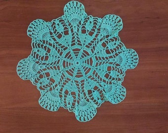 Doily, handmade, brand new, crocheted with pale green cotton, 30 cm