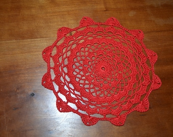 Handmade round doily 19cm, red crocheted with fine cotton