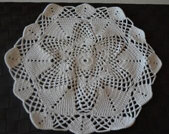 Handmade doily, 35cm, white, Hexagon crochet with cotton big