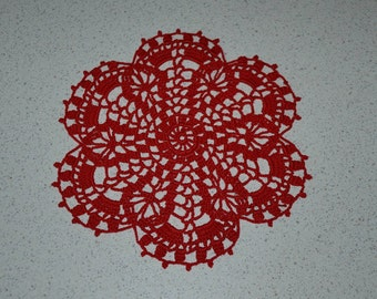 Handmade doily 22 cm, red, round crocheted with fine cotton