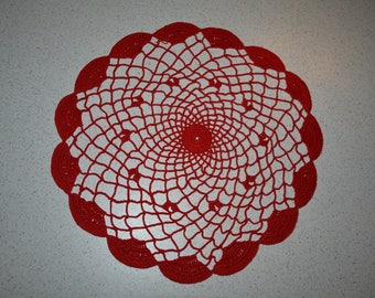Handmade round doily red, 30cm, made with fine cotton crochet