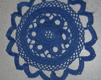 Handmade blue doily 18cm, round, crocheted with fine cotton