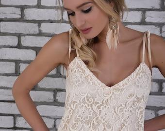 Bridal Separates Top, Wedding Dress Separates, Beige Lace Adjustable Spaghetti Strap Boho Wedding Top, Boho Bridesmaid Top