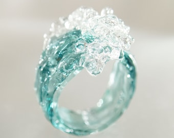 Ocean Wave Cocktail ring • Mermaid and Surfer jewelry • Blue water glass art gift for women