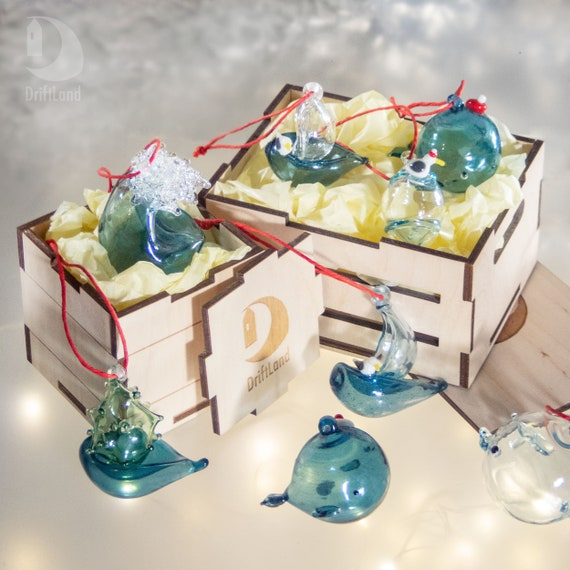 Hand Blown glass Wave \u2022 Christmas tree ornament \u2022 Ocean Art glass Nautical Decoration