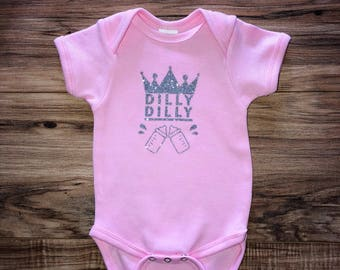 17e069a5d DILLY DILLY- Baby Bodysuit- Light Pink- Silver- Baby Girl Bodysuit-  Humorous Baby Clothing- Silly Baby Shirt- Budlight Commercial- Custom