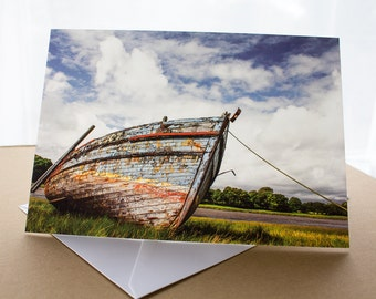 Kirkcudbright Abandoned Boat Photo Greetings Card (A5) Dumfries and Galloway Scotland Photograph