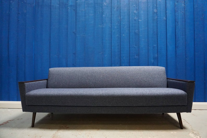 Cool Mid Century Danish Sofa Bed In Navy Blue Tweed 1960S Gmtry Best Dining Table And Chair Ideas Images Gmtryco