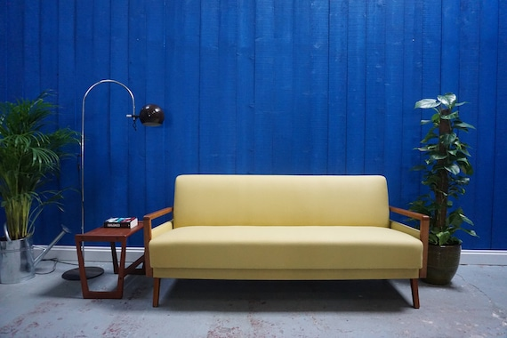 Pleasing 1960S Mid Century Modern Sofa Bed In In Yellow Gmtry Best Dining Table And Chair Ideas Images Gmtryco