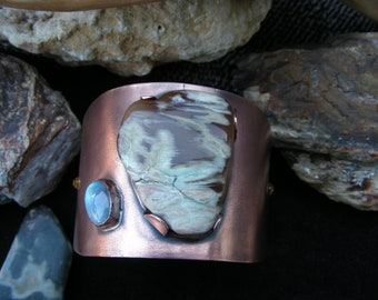 Petrified Wood and Moonstone Wide Cuff Bracelet, Copper Cuff, Handmade Jewelry, Fashion Accessories, Swarovski Crystals, Gemstone Bracelet