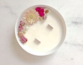 Medium flower candle - soy wax - rose essential oil - Vegan - Made in France / / gifts for her / / wedding Decoration
