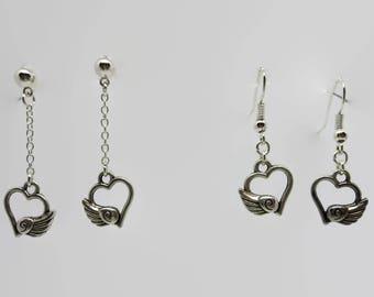 Earrings - silver - winged heart 3.5 cm