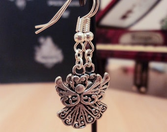 Earrings Christmas Angel - silver - 4 cm