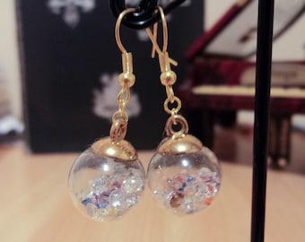 Earrings - gold - long or short starss glass globe