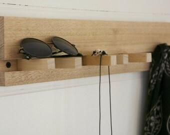 Hook Rack - Hook Board - Coat Rack - Hat Rack - Wall Hooks - Shelf - Contemporary Design with Removable Pegs