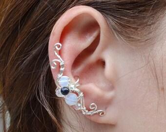 Moonstone earrings cartilage Ear cuff non pierced Ear crawler Small earring cuffs Fake piercing Front back earrings Earcuffs Silver ear cuff
