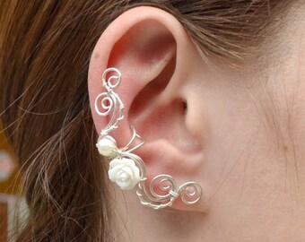 Bridal Earcuff, Wedding earcuffs earrings, Rose ear climber, bridesmaid earrings, ear cuff non pierced, bohemian ear cuff, ear jacket