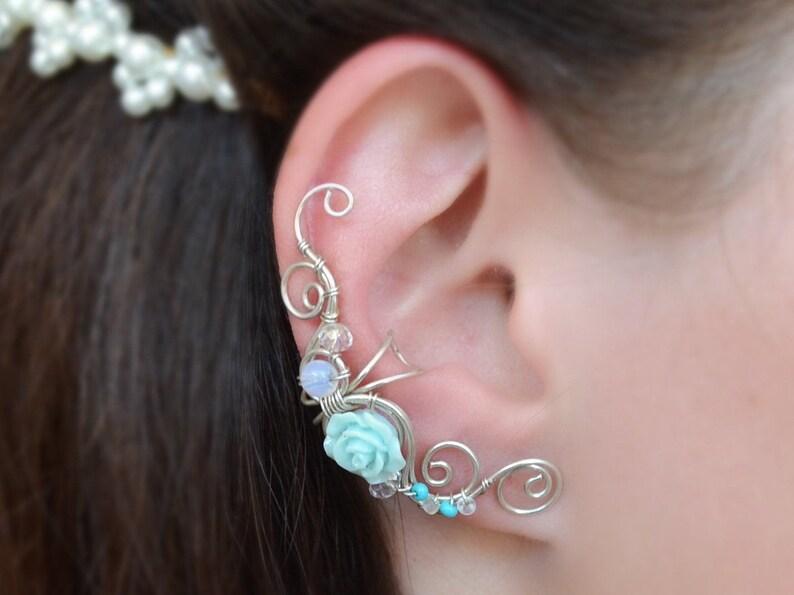 Ear cuff Mint earrings Wedding ear cuff Cartilage ear cuff image 0