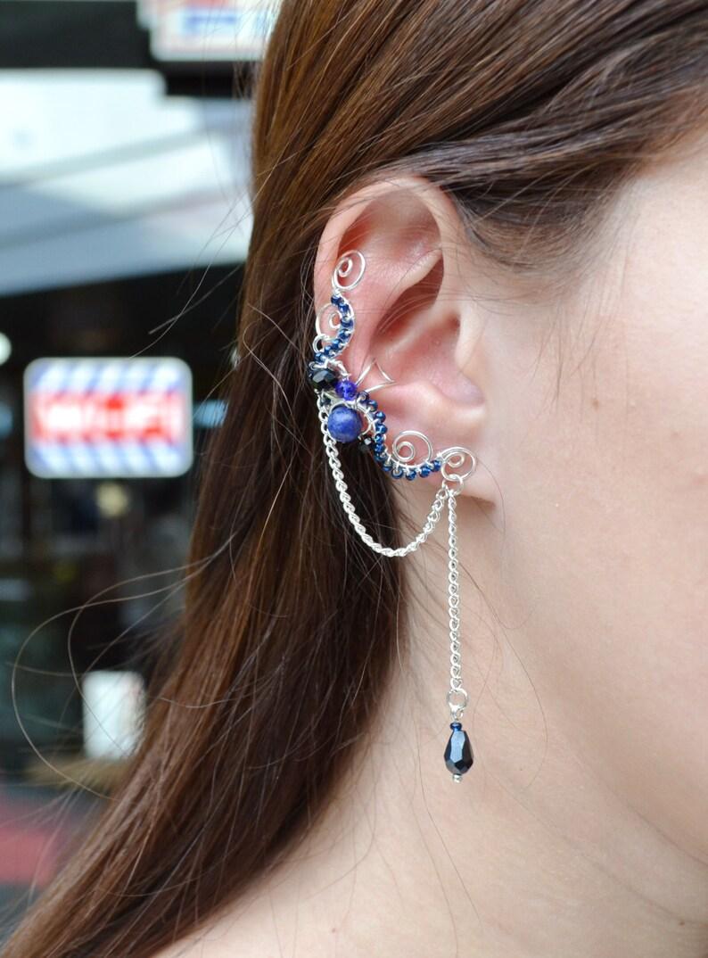 Lapis Lazuli Earrings Something Blue For Bride Cartilage image 0