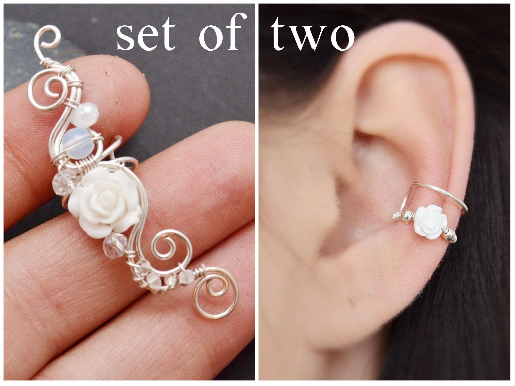 Wedding Ear Cuffs no Piercing Ear crawler earrings White Rose Fake Earrings Bridal Moonstone Earrings